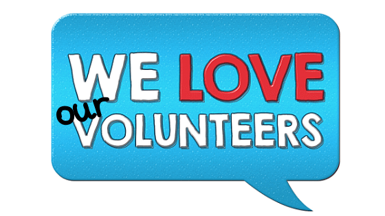 "Image of a talking bubble that says ""We Love our Volunteers"""